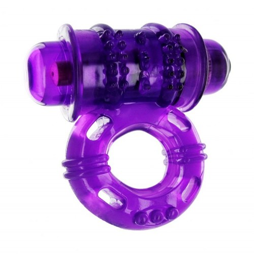 Trinity Vibrating Nubby Cock Ring - Purple